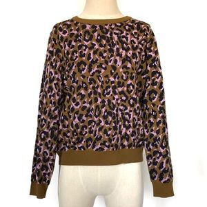 J. Crew Leopard Print Sweater Crew Neck